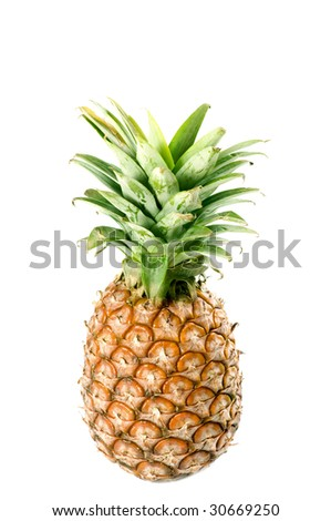 ripe pineapple isolated on black background
