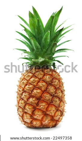 ripe pineapple isolated on white - stock photo