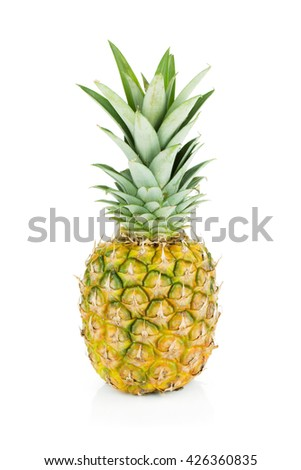 Ripe pineapple. Isolated on white background - stock photo