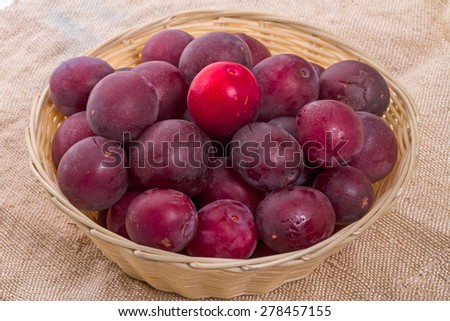 Ripe plums with wicker basket on sacking - stock photo