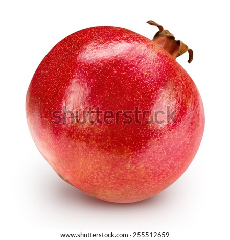Ripe pomegranate fruit isolated  Clipping Path  - stock photo