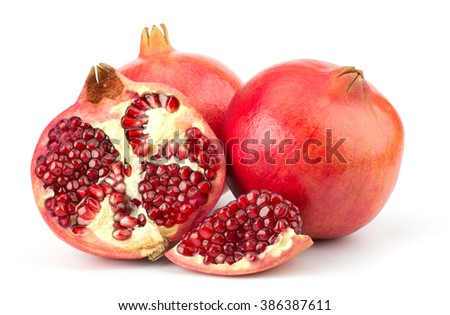 Ripe pomegranate fruit isolated on white background cutout - stock photo