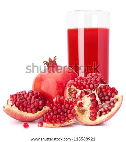 Ripe pomegranate fruit juice glass isolated on white background cutout - stock photo