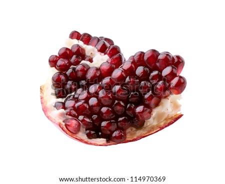 Ripe pomegranate on white background - stock photo