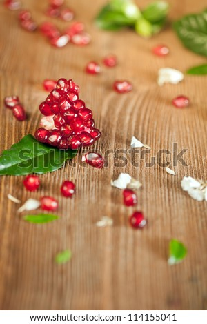 Ripe pomegranate piece - stock photo