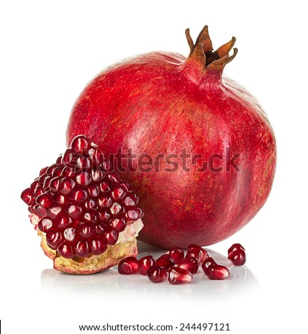 Ripe pomegranates isolated on a white background. - stock photo