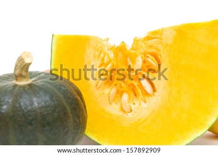 ripe pumpkin close-up on a white background. horizontal photo.