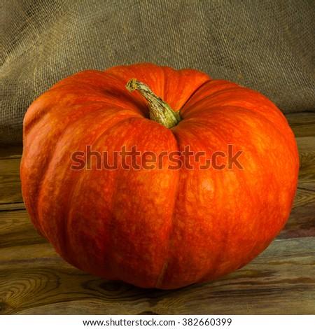 Ripe pumpkin on rustic wooden background. Pumpkins. Thanksgiving Day. Halloween. Vegetables - stock photo