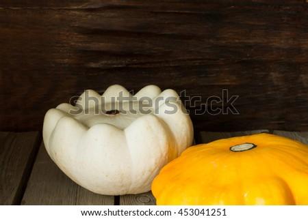 ripe pumpkin with autumn squash for Halloween - stock photo