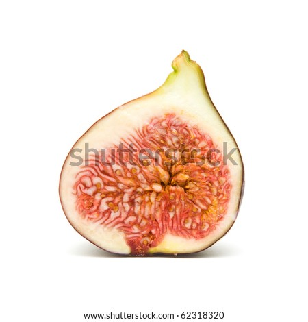 ripe purple fig fruit half, isolated