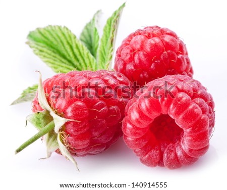 Ripe raspberries isolated on a white background. - stock photo