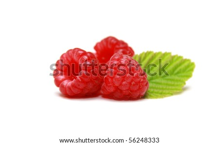 Ripe raspberries isolated on a white background