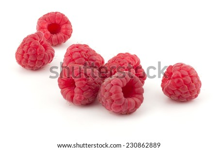 Ripe raspberries isolated on white background - stock photo