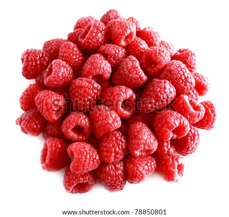 Ripe raspberries on white background