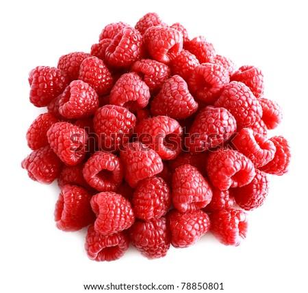Ripe raspberries on white background - stock photo