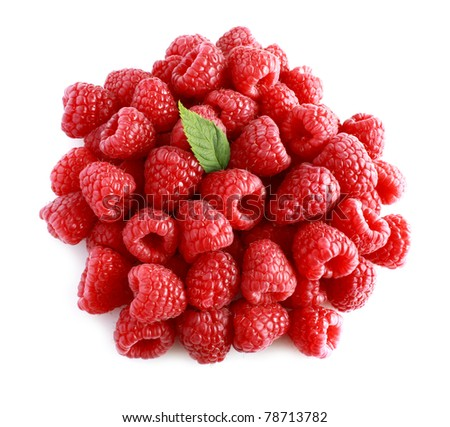 Ripe raspberries with green leaf on white background - stock photo