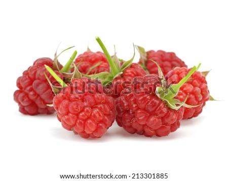 Ripe raspberry berries on a white background - stock photo