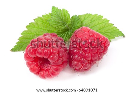 Ripe raspberry on white background