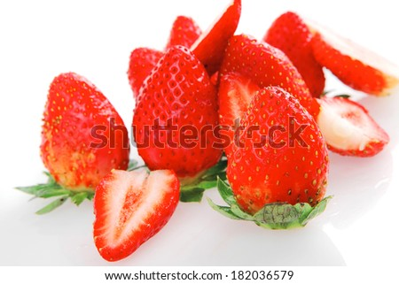 ripe raw strawberry isolated over white background