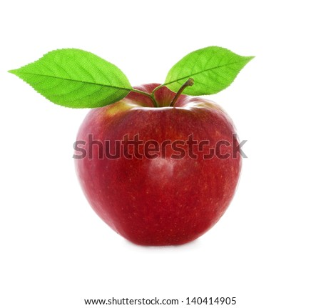 Ripe red and fresh apple with a leafy close-up. Isolated on a white background.
