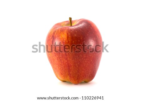 Ripe red apple. Isolated on a white background - stock photo