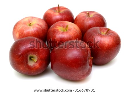 Ripe red apple Isolated on white background - stock photo