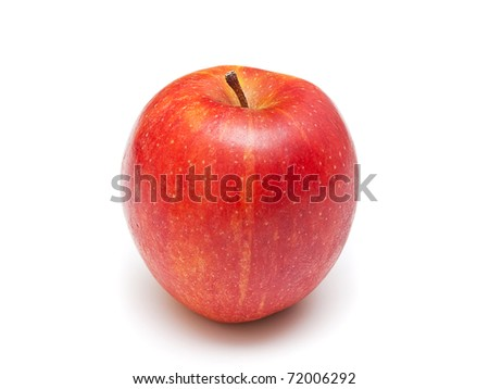 Ripe red apple isolated on  white background.