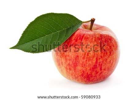 Ripe red apple with leaf isolated on white background - stock photo