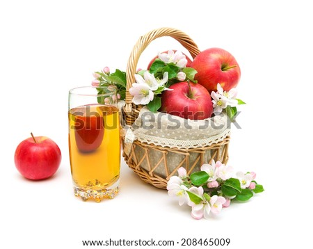 ripe red apples and glass of apple juice isolated on white background. horizontal photo. - stock photo
