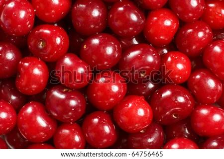 Ripe red cherries - stock photo