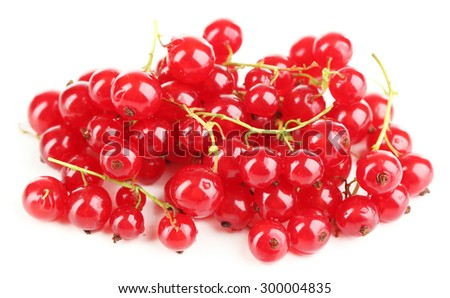 Ripe red currant isolated on white - stock photo