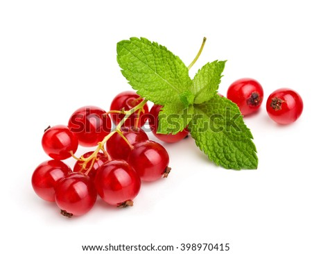 Ripe red currant with fresh mint leaves isolated on white