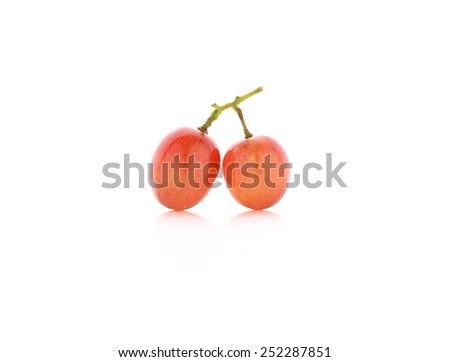 ripe red grape on white background - stock photo