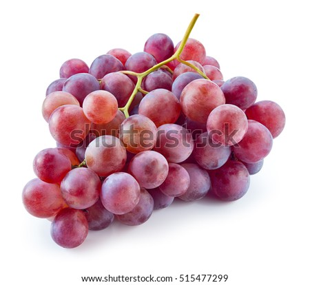 Ripe red grape. Pink bunch isolated on white. With clipping path. Full depth of field.