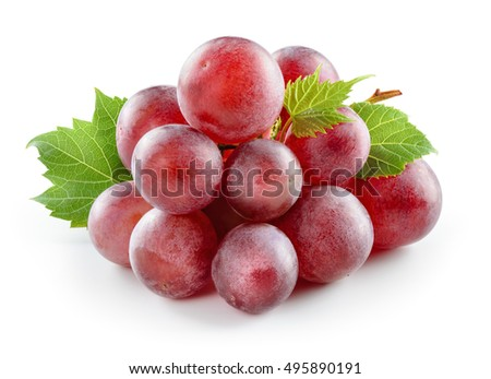 Ripe red grape with leaf isolated on white. Infinite depth of field.