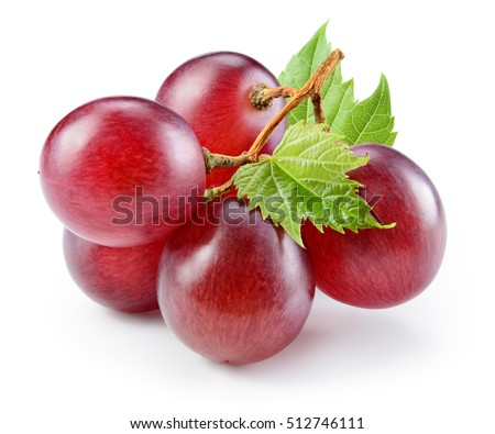 Ripe red grape with leaf isolated on white. With clipping path. Full depth of field.
