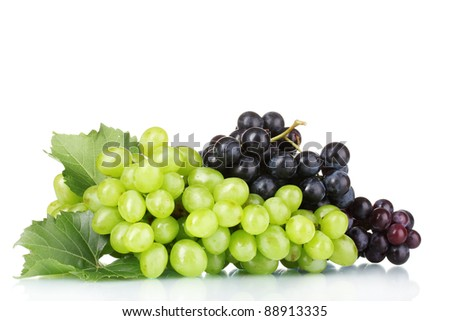 Ripe red grapes isolated on white
