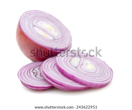 Ripe red onion cut in slices - stock photo