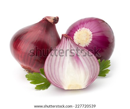Ripe red onion with parsley leaves isolated on white background - stock photo
