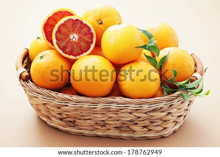 ripe red orange in basket - fruits and vegetables