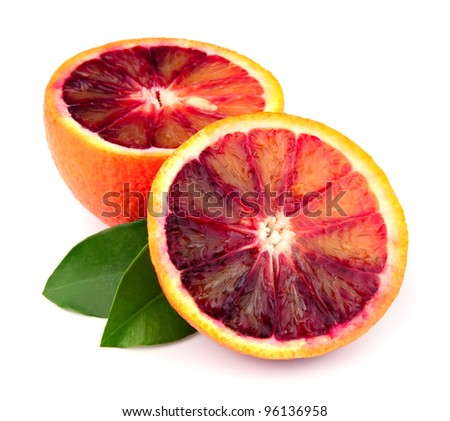 Ripe red orange on a white background - stock photo