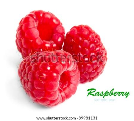 ripe red raspberry on white - stock photo