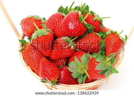 Ripe Red Strawberries in basket, on white background - stock photo