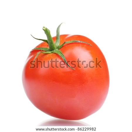 Ripe red tomato isolated on white - stock photo