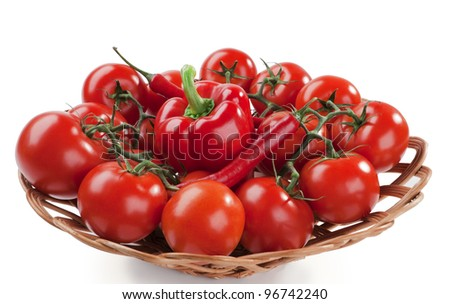 ripe red tomatoes and peppers