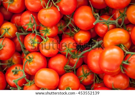 Ripe red tomatoes at the farmer's local market in Fethiye, Turkey