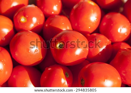 Ripe red tomatoes background. Group of tomatoes - stock photo