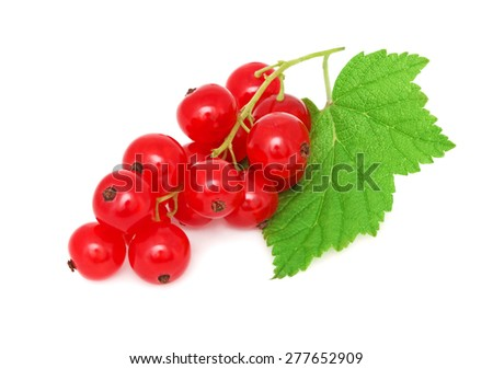 Ripe redcurrant with green leaf isolated on white background - stock photo