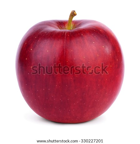 Ripe round red apple with a handle isolated on white background. - stock photo