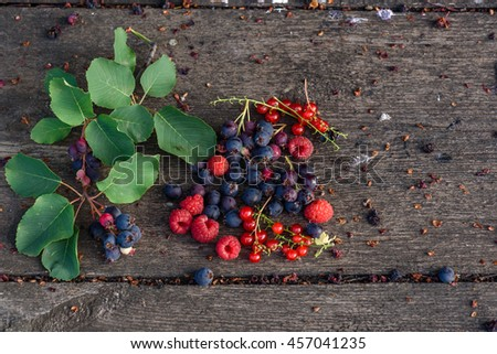 Ripe shadberry, redcurrant, raspberry with branch and leaves scattered on the weathered wooden table in garden. Top view - stock photo
